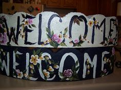 Welcome Edging - One Stroke Painting Arts by the Kickapoo Concrete Edging, Brick Edging, Concrete Art, Cement Pavers, Concrete Bricks, Brick Pavers, Painting Cement, Block Painting, One Stroke Painting