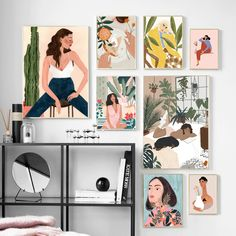 Abstract Fashion Vintage Girl illustration Wall Art Canvas Painting Nordic Posters And Prints Wall Picture For Living Room Decor Mini Canvas Art, Canvas Wall Art, Diy Canvas, Canvas Prints, Art Prints, Posters Vintage, Painting Collage, Wall Art Designs, Funny Art