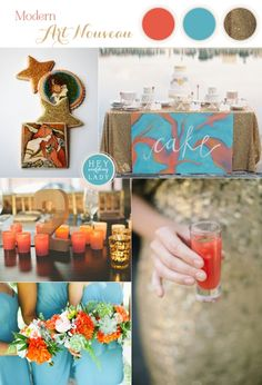 Modern Art Nouveau Wedding Inspiration in Glittering Gold, Aqua, and Burnt Orange | See More! http://heyweddinglady.com/modern-art-nouveau-wedding-inspiration-glittering-gold-orange-blue/
