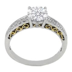 Round Diamond Heirloom Engagement Ring 0.24 tcw. In 14K White Gold