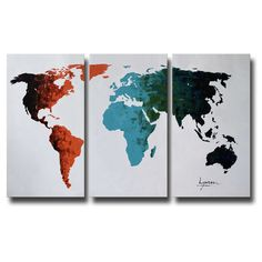 Hand-painted 'World Map' 3-piece Gallery-wrapped Canvas Art Set (130 CAD) ❤ liked on Polyvore featuring home, home decor, wall art, three piece wall art, framed oil painting, horizontal wall art, 3 piece canvas art set and word wall art