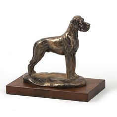 for the bookcase    Great Dane (uncropped), dog wooden base statue, limited edition, ArtDog