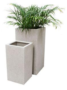 Hoge Kubus Plantenbak Groot, Wit Poly-Terrazzo – H 79cm x 40cm - 120L