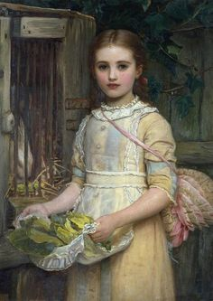 Feeding the Rabbit by Perugini, Kate (1839-1929); (add. info.: artist is daughter of Charles Dickens)