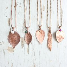 Real leaf necklace  Botanical jewelry  gift by wirefoxjewellery