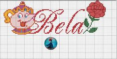 Artes e bordados da Sol: Monograma de uma Amiga muito querida Beauty And Beast Cake, Plastic Canvas Crafts, C2c, Princesas Disney, Le Point, Perler Beads, Beading Patterns, Cross Stitch, Bullet Journal