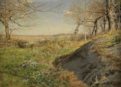 Johan Krouthén (1859-1932): Solbelyst skogsstig, 1889