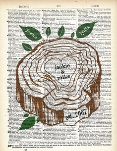 Etsy Transaction - Personalized Family Tree Leaves Vintage Dictionary Art Print