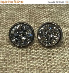 Black Friday Sale Gunmetal Druzy Earrings,Drusy Earrings,Druzy Jewelry,Bridesmaid Gift, Christmas Gift,Stud Earring,Trend,Jewelry,Cottage Ch by WisteriaSkyBoutique on Etsy