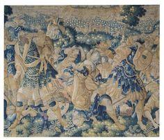 Fragment de tapisserie des Flandres représentant une scène de bataille. XVIIe