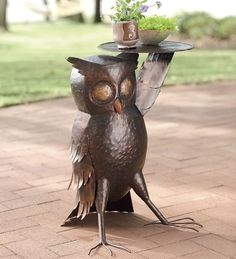 Hand-Hammered Iron Owl Side Table in  from Plow & Hearth on shop.CatalogSpree.com, your personal digital mall.