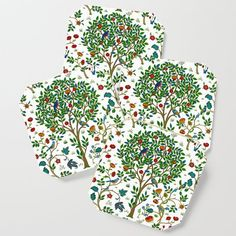 William Morris Tree of Life Pattern, Green & Multi Coaster by Plant Stem, Book Lovers Gifts, William Morris, Drink Coasters, Large Art, Tree Of Life, Botany, Satin Finish, Creative Design