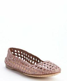 Giraffe Walk: rose metal basket weave perforated leather 'Channai' flats