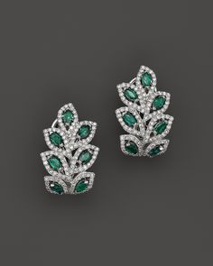 Emerald and Diamond Leaf Post Earrings in 14K White Gold | Bloomingdale's