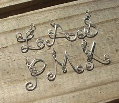 Letter necklace pendant from wire: