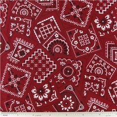 "Red Classic Bandana Fabric is 44"" - 45"" wide and 100% cotton.    	CARE INSTRUCTIONS - Machine Wash, Warm; Tumble Dry; Remove Promptly.    	Available in 1-yard increments. Average bolt size is approximately 8 yards. Price displayed is for 1-yard. Enter the total number of yards you want to order."