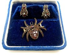 Victorian garnet spider and fly set - spider pin and fly earrings