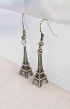 Bronze Eiffel Tower Earrings Dangle Earrings by NewJewelleryStory