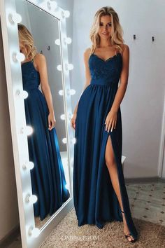 A Line Backless Lace Blue Prom Dresses with Leg Slit, Blue L.- A Line Backless Lace Blue Prom Dresses with Leg Slit, Blue Lace Formal Dresses, Lace Blue Evening Dresses - Prom Outfits, Unique Prom Dresses, Prom Dresses Blue, Elegant Dresses, Pretty Dresses, Homecoming Dresses, Dress Prom, Long Fancy Dresses, Beautiful Dresses
