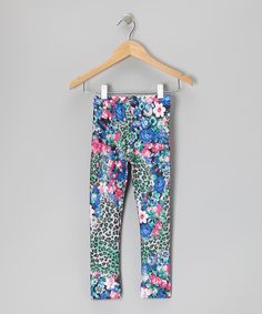 a7c9b23c808ed Take a look at this Unik Lavender Leopard Floral Leggings - Toddler & Girls  on zulily