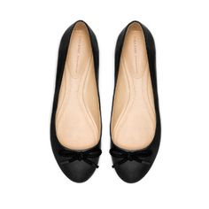 LEATHER BALLERINA WITH BOW - Flats - Shoes - Woman   ZARA United States