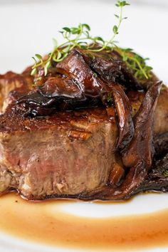 Filet Mignon with Mushroom Wine Sauce Recipe with Shallots, Shiitake Mushrooms, Red Wine, Beef Consomme, Soy Sauce, and Thyme - 15 Minute Prep Time