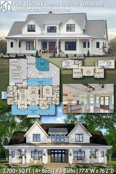Architectural Designs Modern Farmhouse House Plan 14679RK client built in Tennessee! This farmhouse home plan gives you 4 bedrooms, 4.5 baths and 2,700+ sq. ft. Ready when you are! Where do YOU want to build? #14679RK#adhouseplans #architecturaldesigns #houseplans #architecture #newhome #farmhouse #modernfarmhous New House Plans, Dream House Plans, Modern House Plans, Modern Farmhouse Plans, Farmhouse Ideas, Indoor Outdoor Living, Building A House, Building Plans, Roof Plan