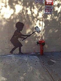 ニューヨークの路上に描かれたバンクシーの「作品」