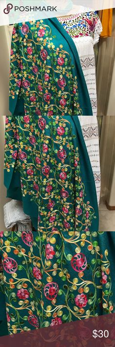 New Embroidered Shawl Teal Soft Pashmina Gorgeous New Cielito Lindo Accessories Scarves & Wraps