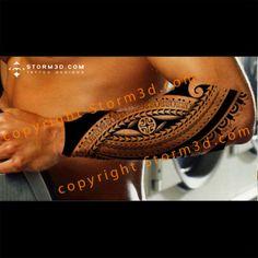 Polynesian tribal tatoo with enata and arrowhead symbols