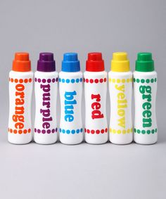 I LOVE these.  They aren't messy and are easy for toddlers to use!  Do-A-Dot Art Rainbow Art Markers on #zulily!