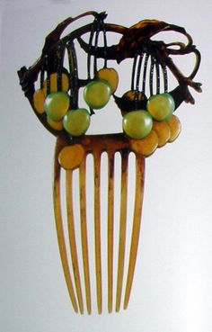 Cherry Blossom Hair Comb featured at the hair comb museum in Hakone Japan.