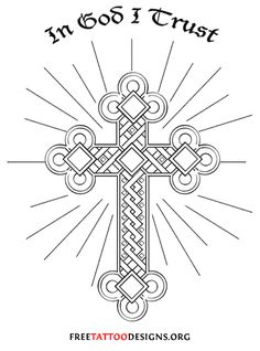 Cross tattoo design with the words In God I Trust