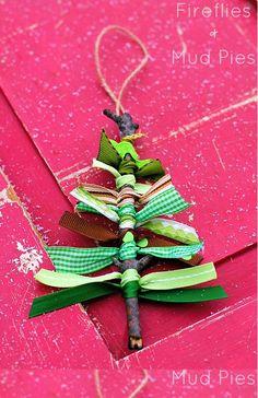 Scrap Ribbon Tree Ornaments - Fireflies and Mud Pies
