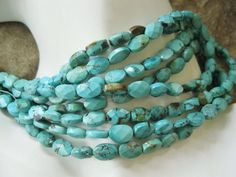 Natural Turquoise Bead 9MM-10MM Faceted Oval Blue - Green 10 beads