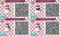 Animal Crossing New Leaf QR codes - plain white dress with black ribbon…