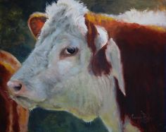 Sandy Byers charity 4pasados ORIGINAL painting (study) art signed cow hereford farm animal livestock #Realism