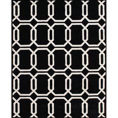 Alliyah Handmade Black New Zealand Blend Wool Rug (5' x 8') (Hand Made Tufted 'Floridly' Black Wool Rug 5x8), Size 5' x 8'