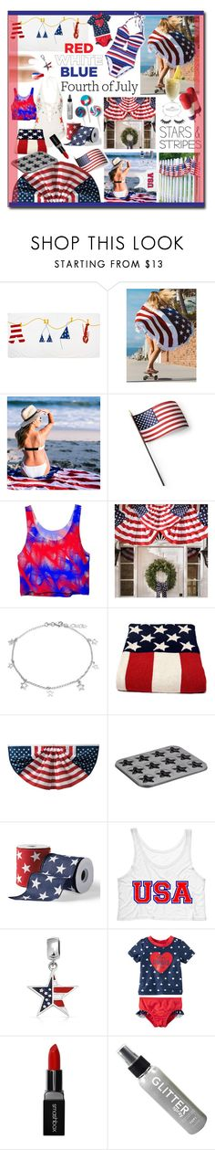 """""""Fourth Of July"""" by alrdesign ❤ liked on Polyvore featuring WithChic, Grandin Road, Bling Jewelry, in2green, Cake Boss, Carter's, Smashbox and Violet Voss"""