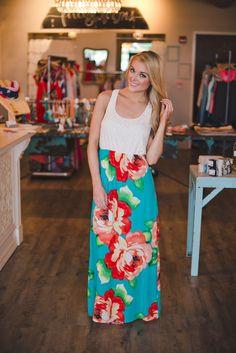 Dottie Couture Boutique - Two Tone Maxi- Teal Floral, $46.00 (http://www.dottiecouture.com/two-tone-maxi-teal-floral/)