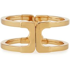 Tory Burch Gemini Link Hinge Cuff Bracelet ($150) ❤ liked on Polyvore featuring jewelry, bracelets, gold, hinged cuff bracelet, magnet jewelry, cuff jewelry, cuff bangle and golden bangles