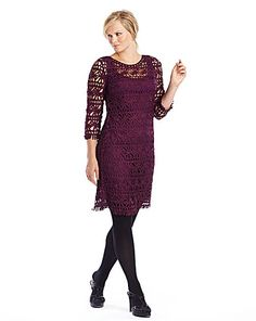 f1b5ac5e79 Plum crochet look dress with underslip available in sizes 10-30. Also in  black