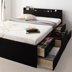 - Slim headboard with one side multiple drawers Product dimensions: Length: 220 cm Width: 160 cm Bed Height: 40 cm Height: 106 cm Mattress width: 150 cm Mattress length: 200 cm Dream Apartment, Black Bedding, Industrial Design, Mattress, Drawers, Room, Furnitures, Home Decor, Bedroom