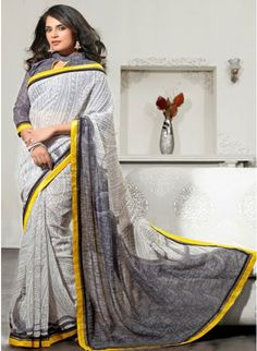 Plushy Gray & Off White Silk Embroidered #Saree #clothing #fashion #womenwear #womenapparel #ethnicwear