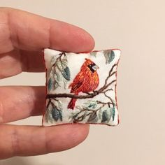 Excited to share this item from my shop: Miniature pillow Cardinal bird Miniature Quilts, Miniature Crafts, Barbie Miniatures, Dollhouse Miniatures, Mini Craft, Small Stuff, Embroidered Cushions, Dollhouse Accessories, Pincushions