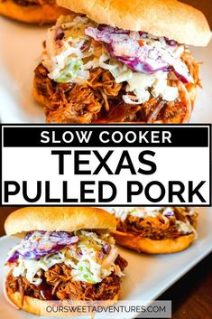 Learn how to make this SUPER EASY Slow Cooker Texas Pulled Pork. You can enjoy this BBQ meal as a sandwich, over nachos, inside tacos, and more. #Recipe #Crockpot #BBQ | Crock Pot Recipe | Pulled Pork | Barbecue | BBQ | Recipe Easy | Slow Cooker | How to Make | Easy | Smoked | Barbecue Pulled Pork, Pulled Pork Recipes, Meat Recipes, Slow Cooker Recipes, Crockpot Recipes, Entree Recipes, Slow Cooking, Slow Cooker Pork, Stuffed Peppers