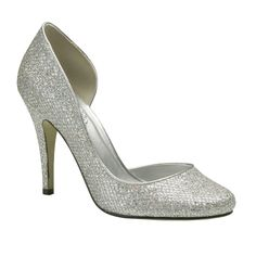 Lauren High Heel Silver Wedding Shoes - Pink By Paradox