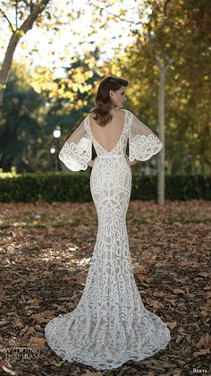 berta fall 2016 bridal half bell sleeves bateau neckline sheath wedding dress open low back