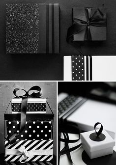 Black and white Christmas wrapping (love the black textured parcels!)