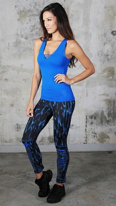 Blue Black LeggingsThe print on these Blue & Black Leggings is modern and stylish. With Equilibrium Active Wear, you will always be in fashion and looking your best. #leggings #yoga #blueandblack